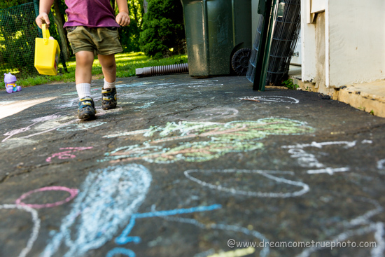 A Preschooler, a driveway, a box of chalk, and really fun learning opportunity I almost missed.