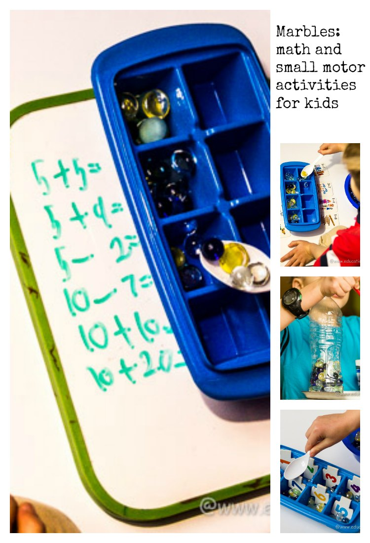 Math and small motor activities for kids with marbles